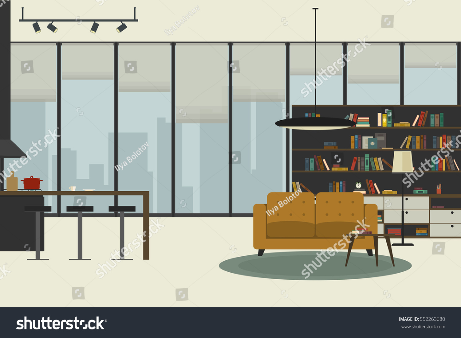 Open Space Living Room Apartment Inside Flat Style Open Space Stock Vector 552263680