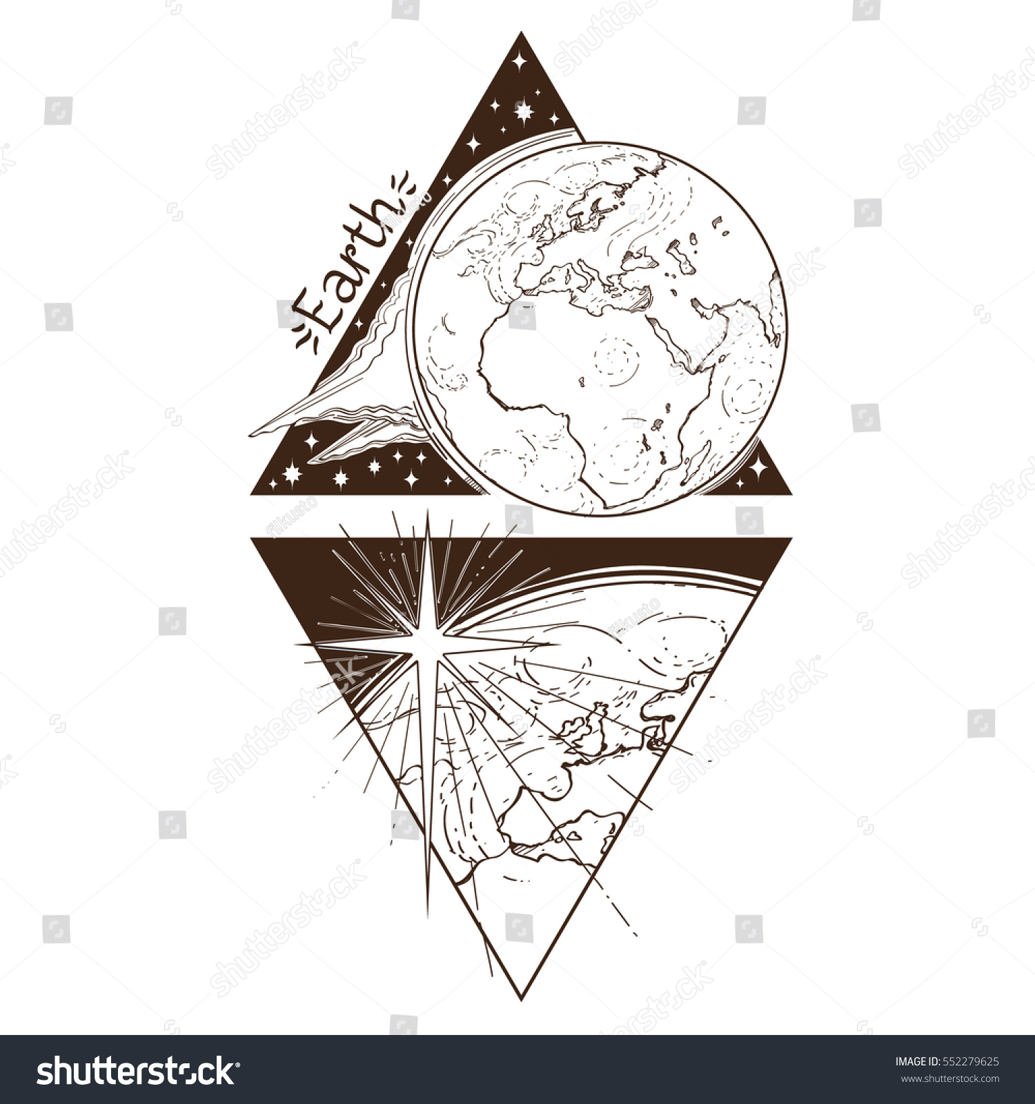 Earth Planets Stars Solar System Symbols Stock Vector