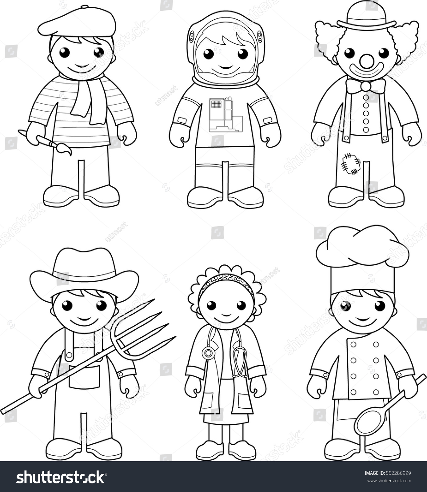 coloring page set vector illustrations black stock vector