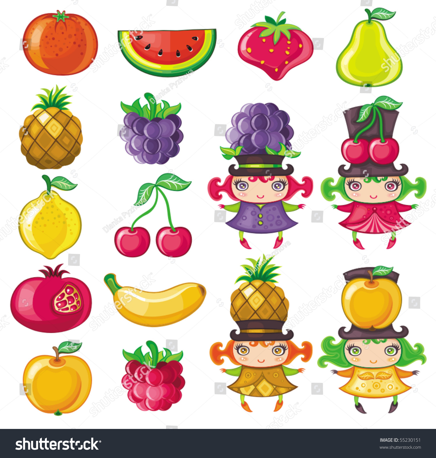Different Types Delicious Fruits Cute Fruity Stock Vector 55230151 ...