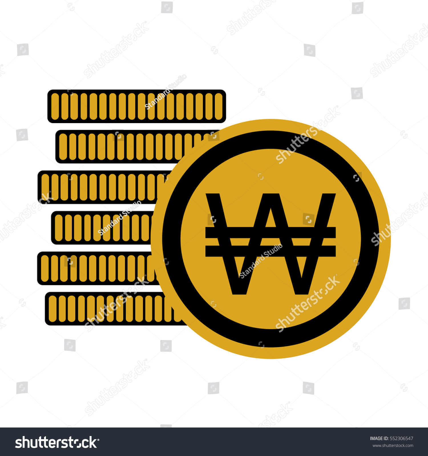 Money six coins south korean won stock vector 552306547 shutterstock money six coins south korean won icon krw currency symbol vector illustration buycottarizona