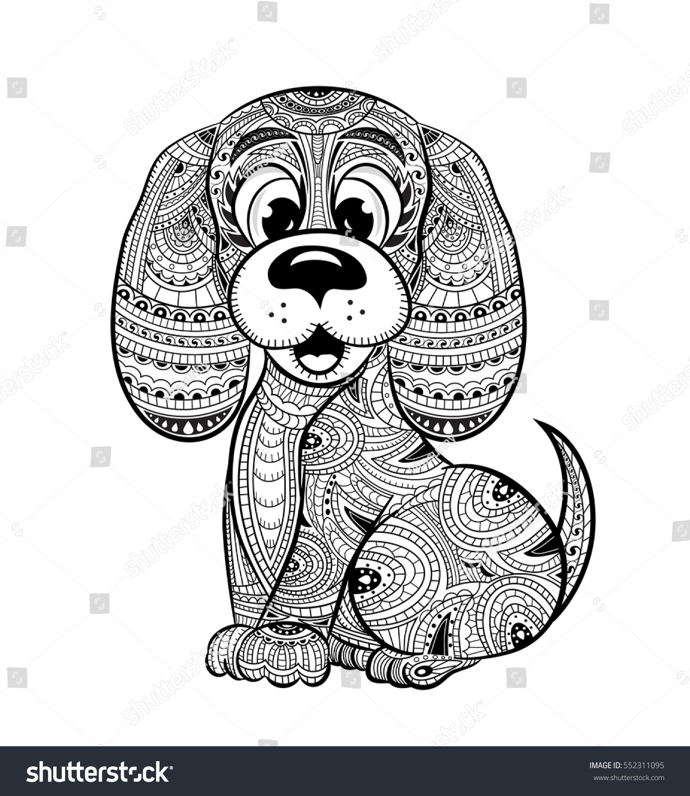 Anti stress coloring images - Dog Anti Stress Coloring Book For Adults Black And White Hand Drawn Vector