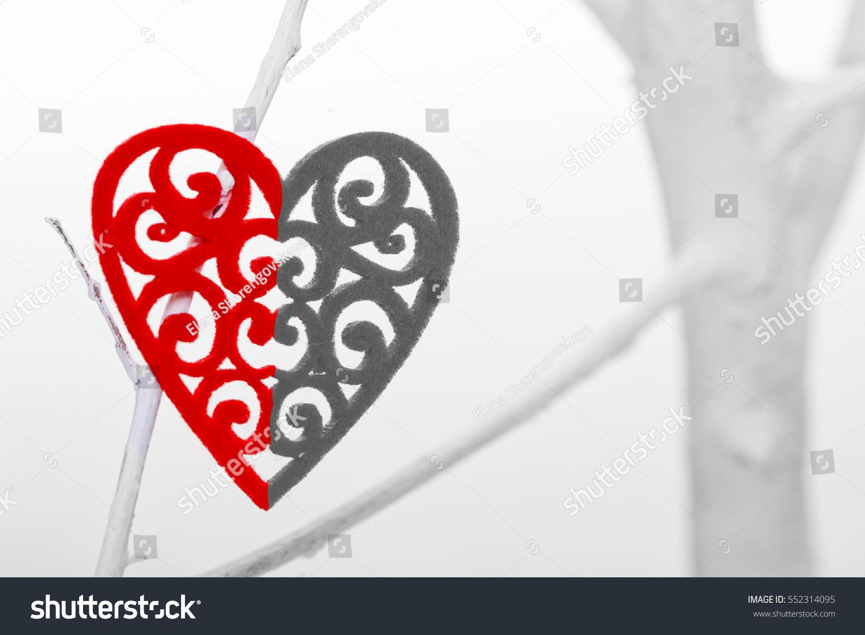 Broken Heart On White Tree On Stock Photo Edit Now 552314095