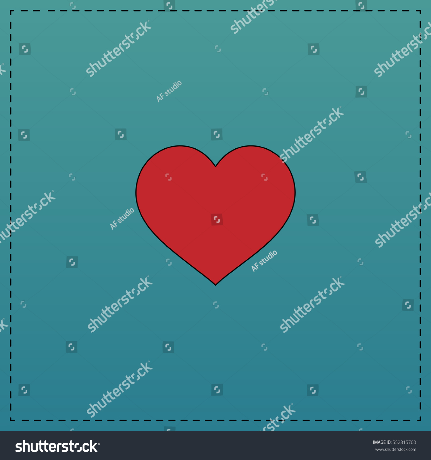 Heart red vector icon black contour stock vector 552315700 heart red vector icon with black contour line flat computer symbol on blue background buycottarizona Choice Image