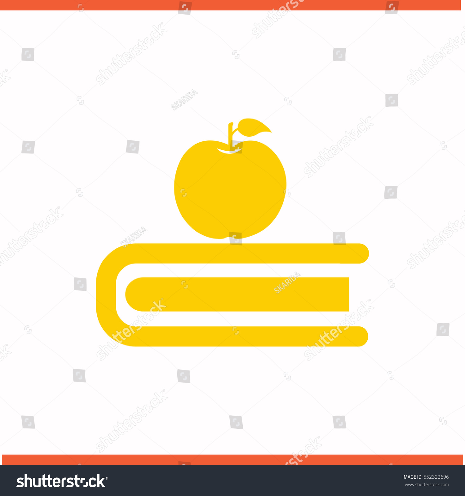 Book Apple Vector Yellow Icon On Stock Vector Royalty Free