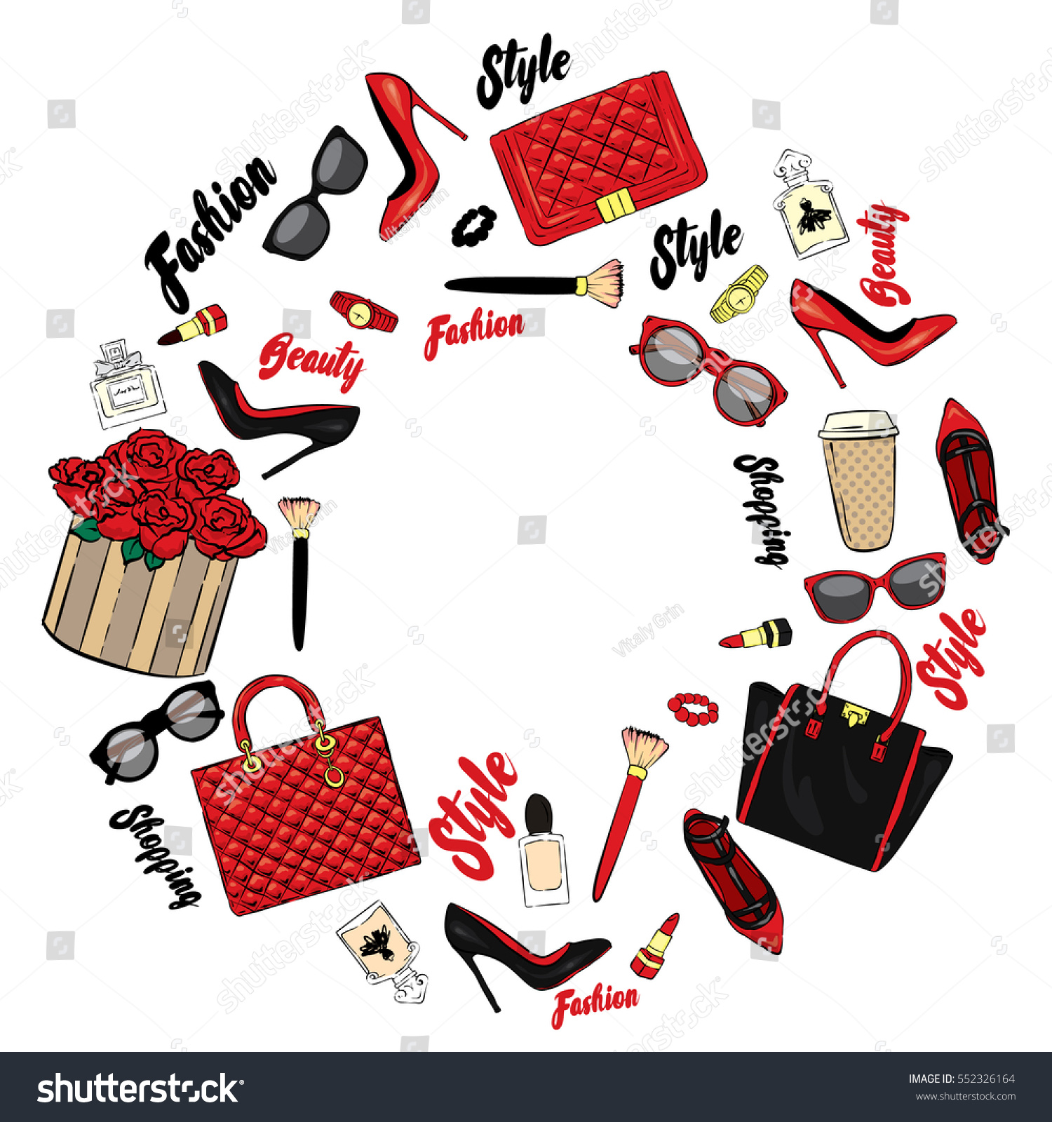 set stylish womens accessories vector illustration stock vector