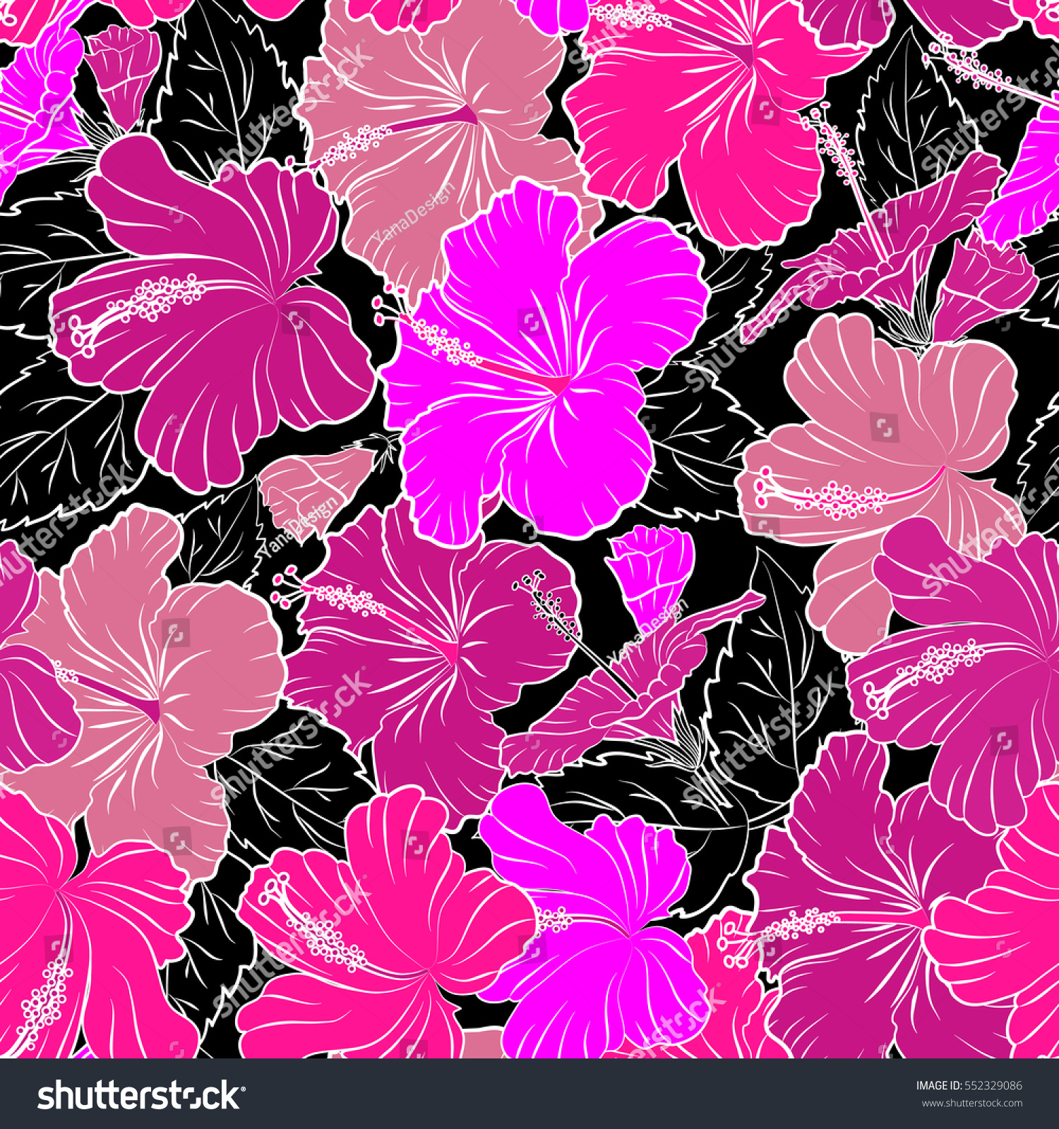 Seamless Pattern Of Tropical Hibiscus Flowers Dense Jungle Hand