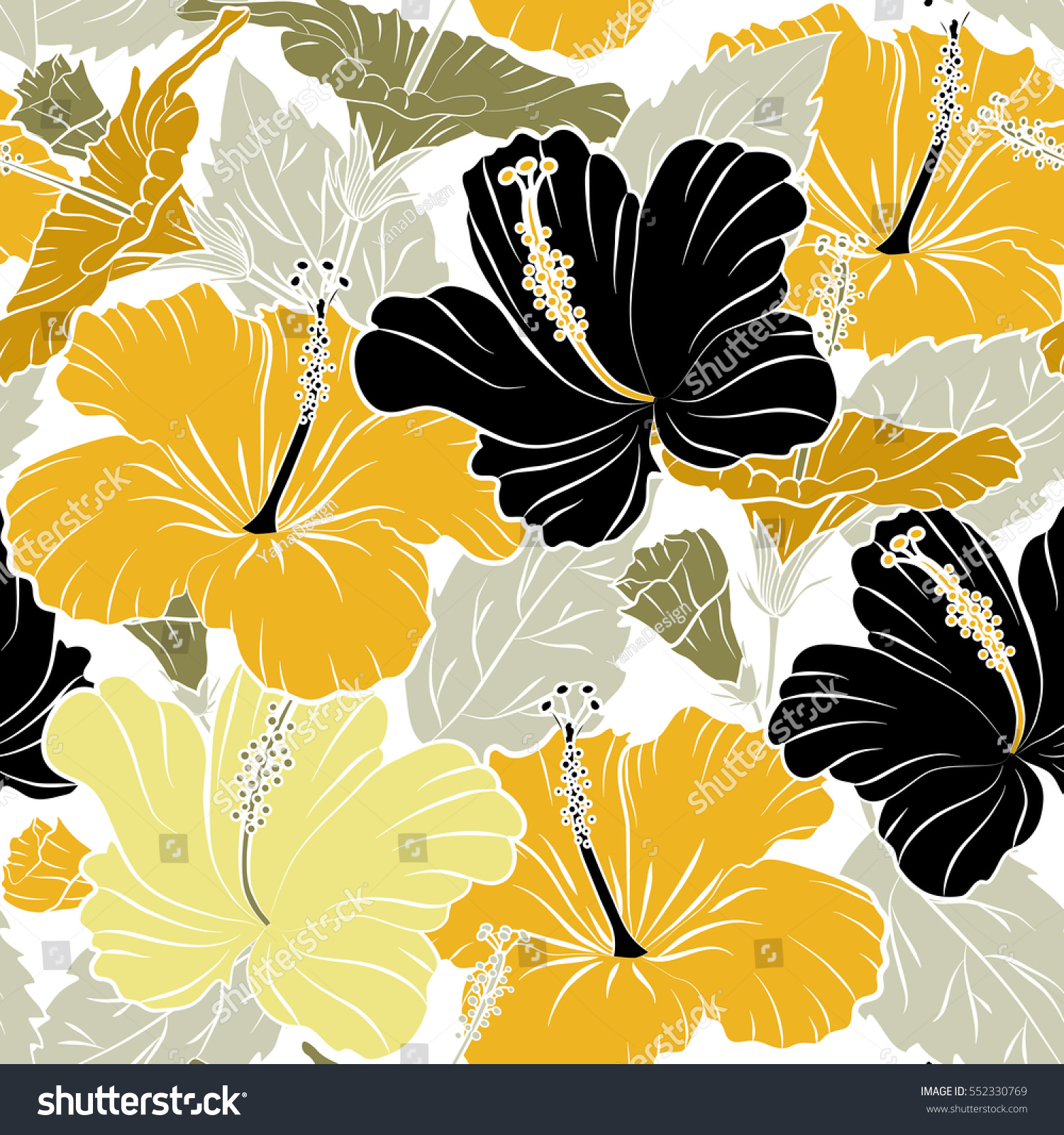 Hibiscus Flowers On White Background Yellow Stock Illustration