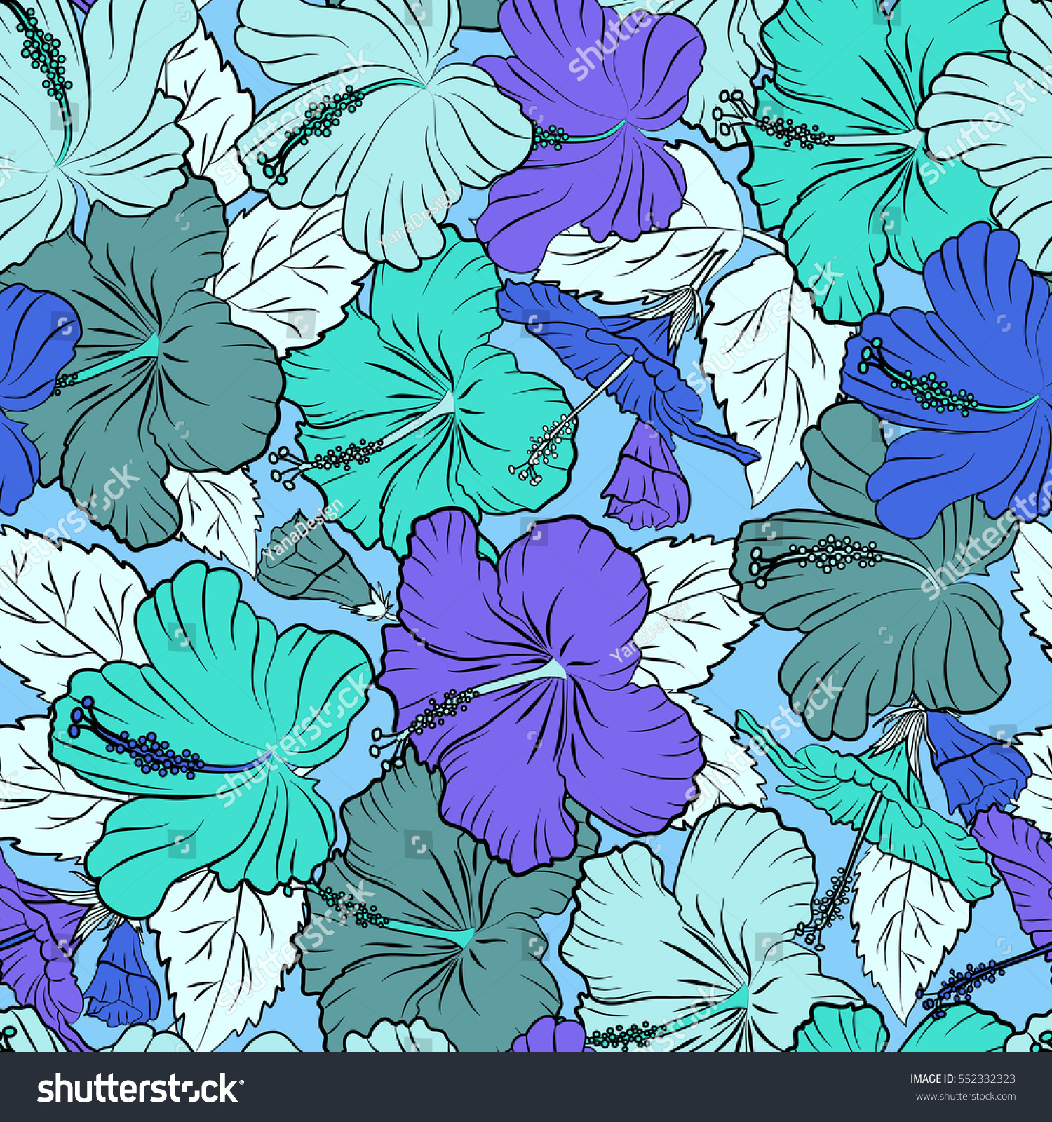 Bright Hawaiian With Blue Tropical Hibiscus Flowers Ez Canvas