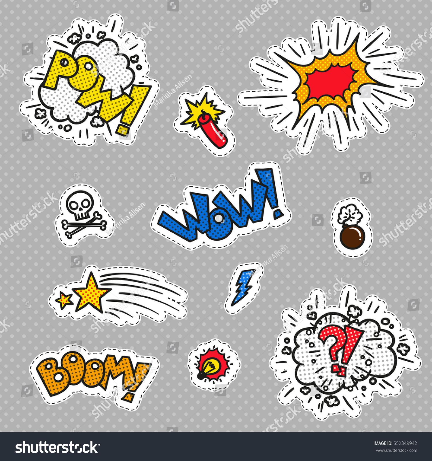 Paper comics stickers cartoon set boom vector
