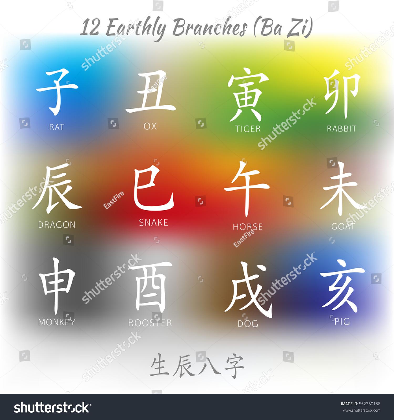 Set Symbols Chinese Hieroglyphs Translation 12 Stock Vector Royalty