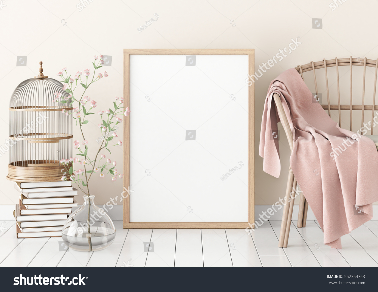 Interior Poster Mockup Empty Wooden Frame Stock Illustration ...