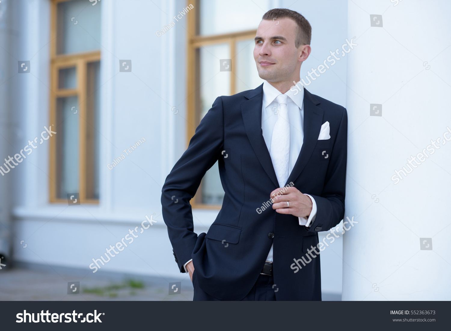 Handsome Groom Suit Nature Male Portrait Stock Photo 552363673 ...