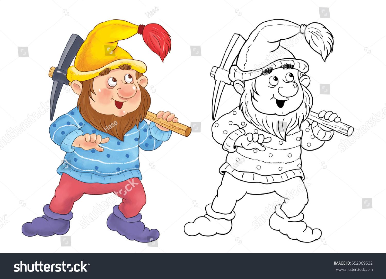 snow white seven dwarfs fairy tale stock illustration 552369532
