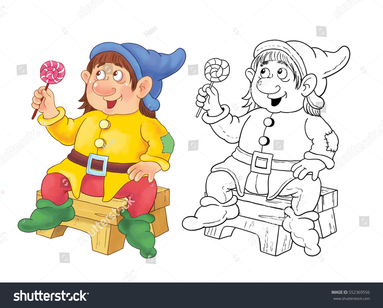 snow white seven dwarfs fairy tale stock illustration 552369556