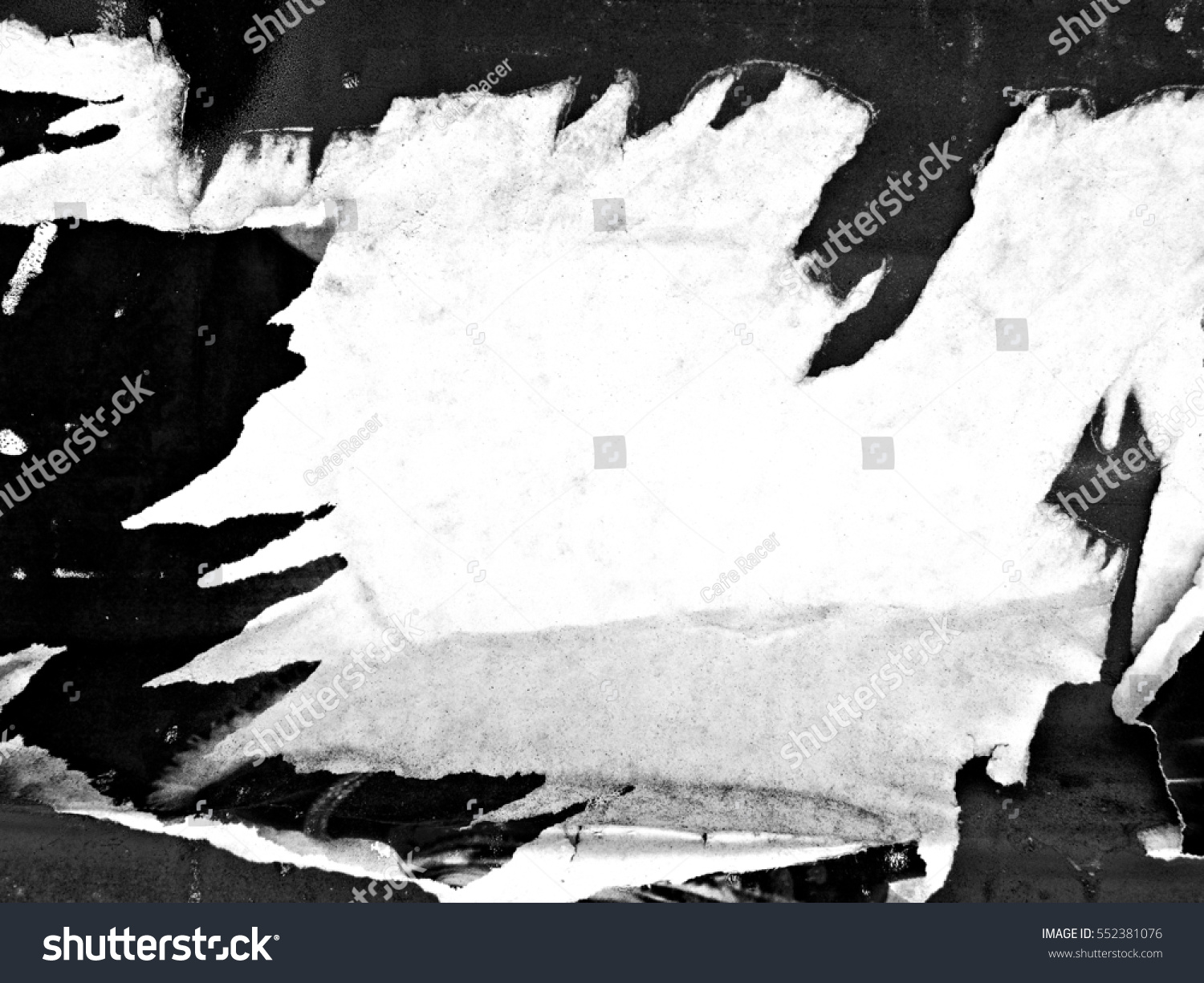 Old grunge ripped torn vintage collage posters and creased crumpled paper surface texture background placard / Space for text #552381076