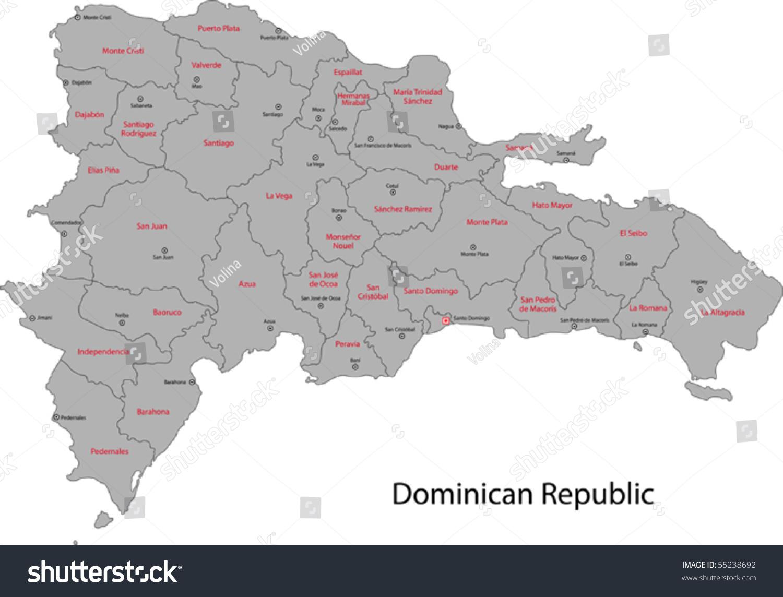 Dominican Republic Map Provinces Capital Cities Stock Vector - Dominican republic cities map