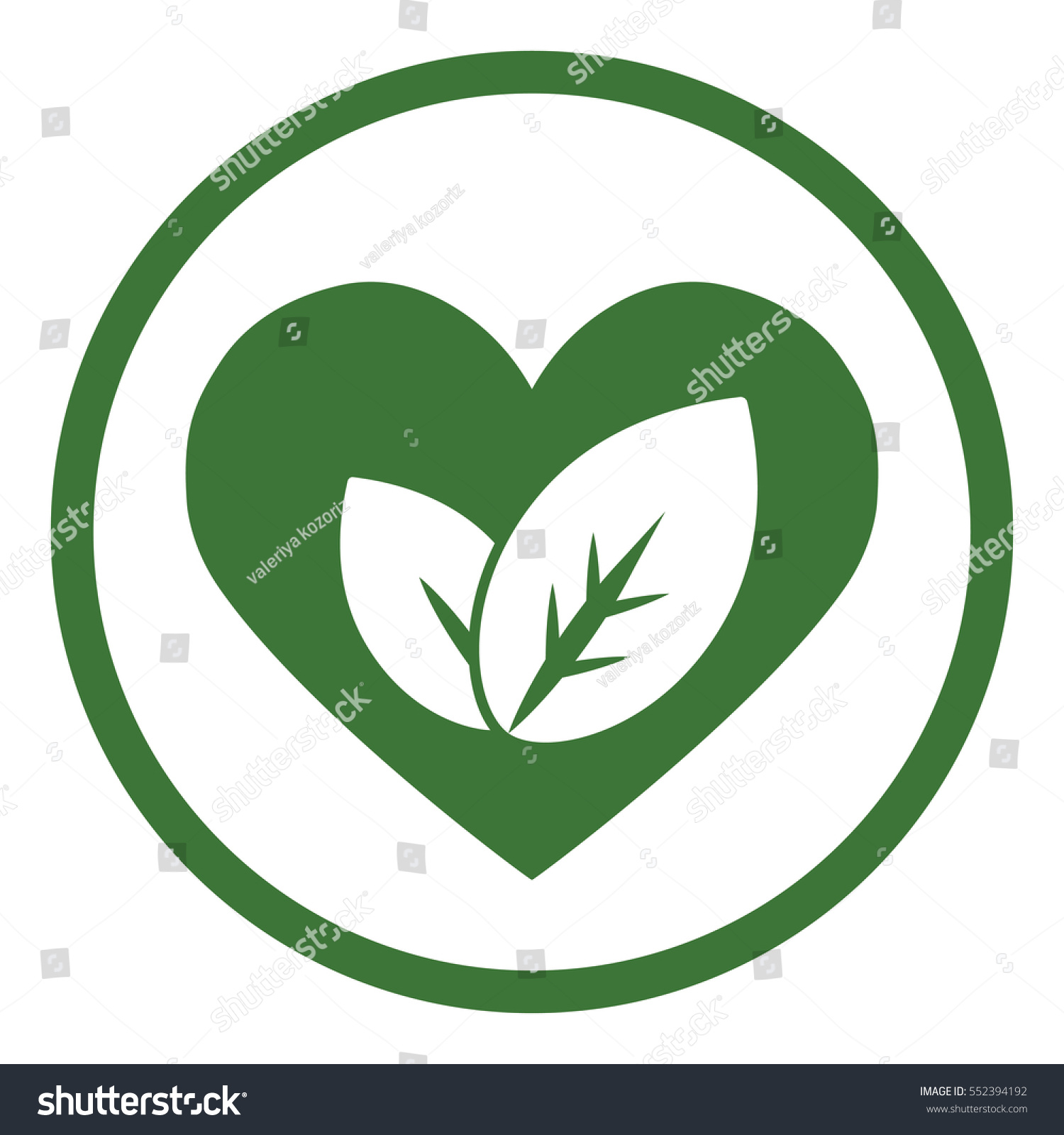 Eco bio leaves heart love icon stock vector 552394192 shutterstock eco bio leaves in heart love icon simple in circle buycottarizona
