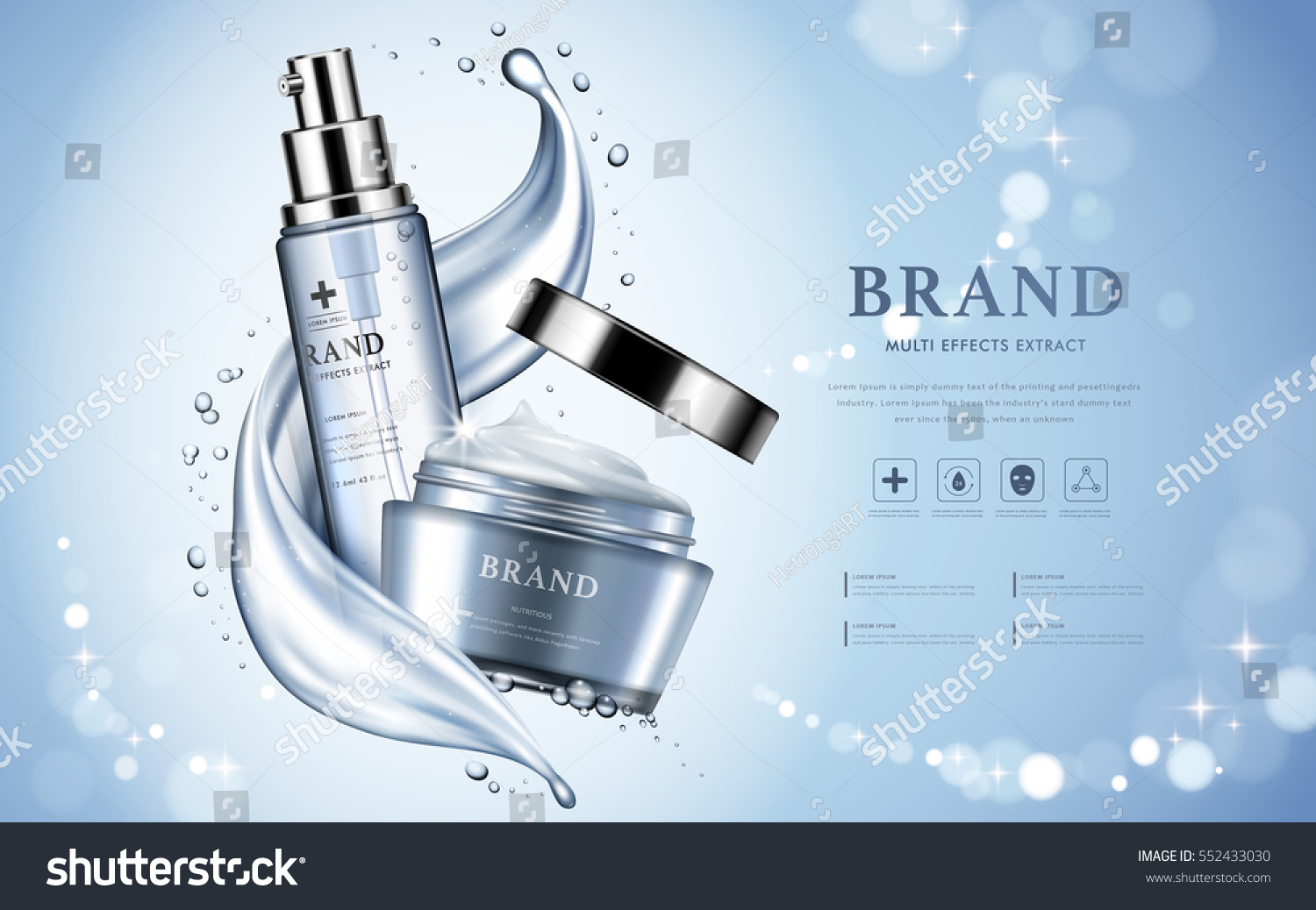 Moisturizing cosmetic products ad, light blue bokeh background with beautiful containers and watery texture in 3d illustration #552433030