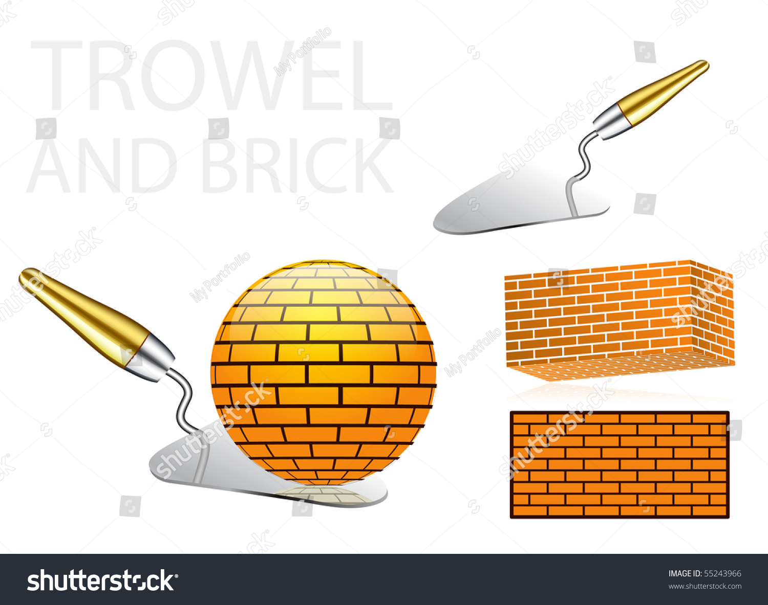 Illustrations Of A Trowel : Trowel and bricks illustrations with globe brick concept