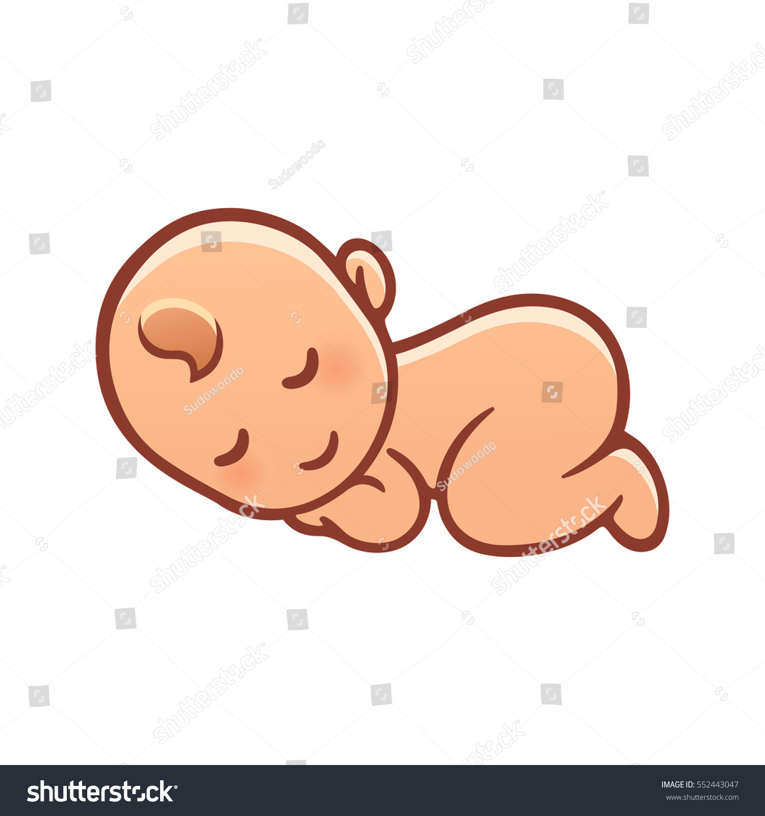 Cute Sleeping Baby Drawing Simple Cartoon Stock Vector Royalty
