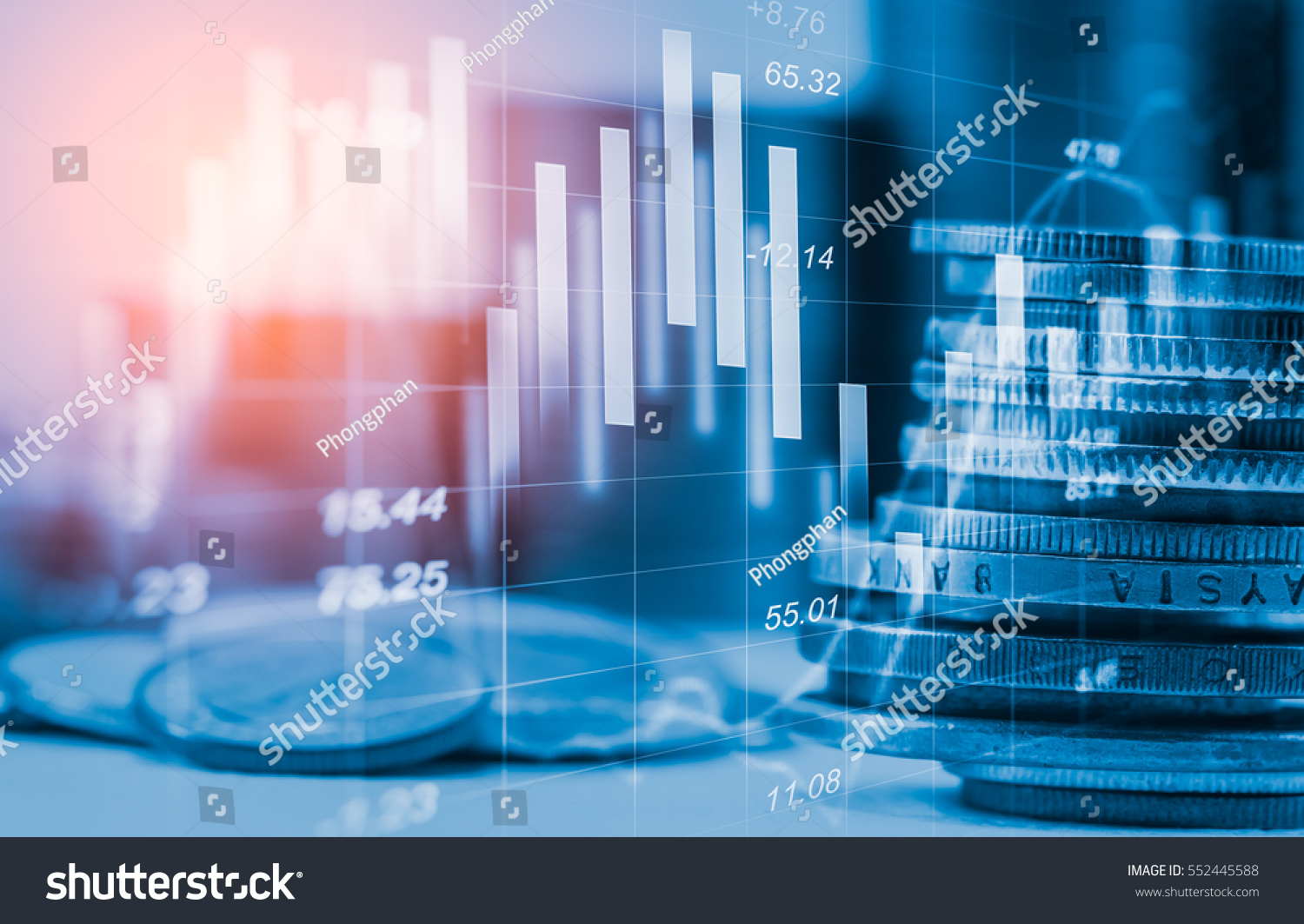 Stock market or forex trading graph and candlestick chart suitable for financial investment concept. Economy trends background for business idea and all art work design. Abstract finance background.   #552445588