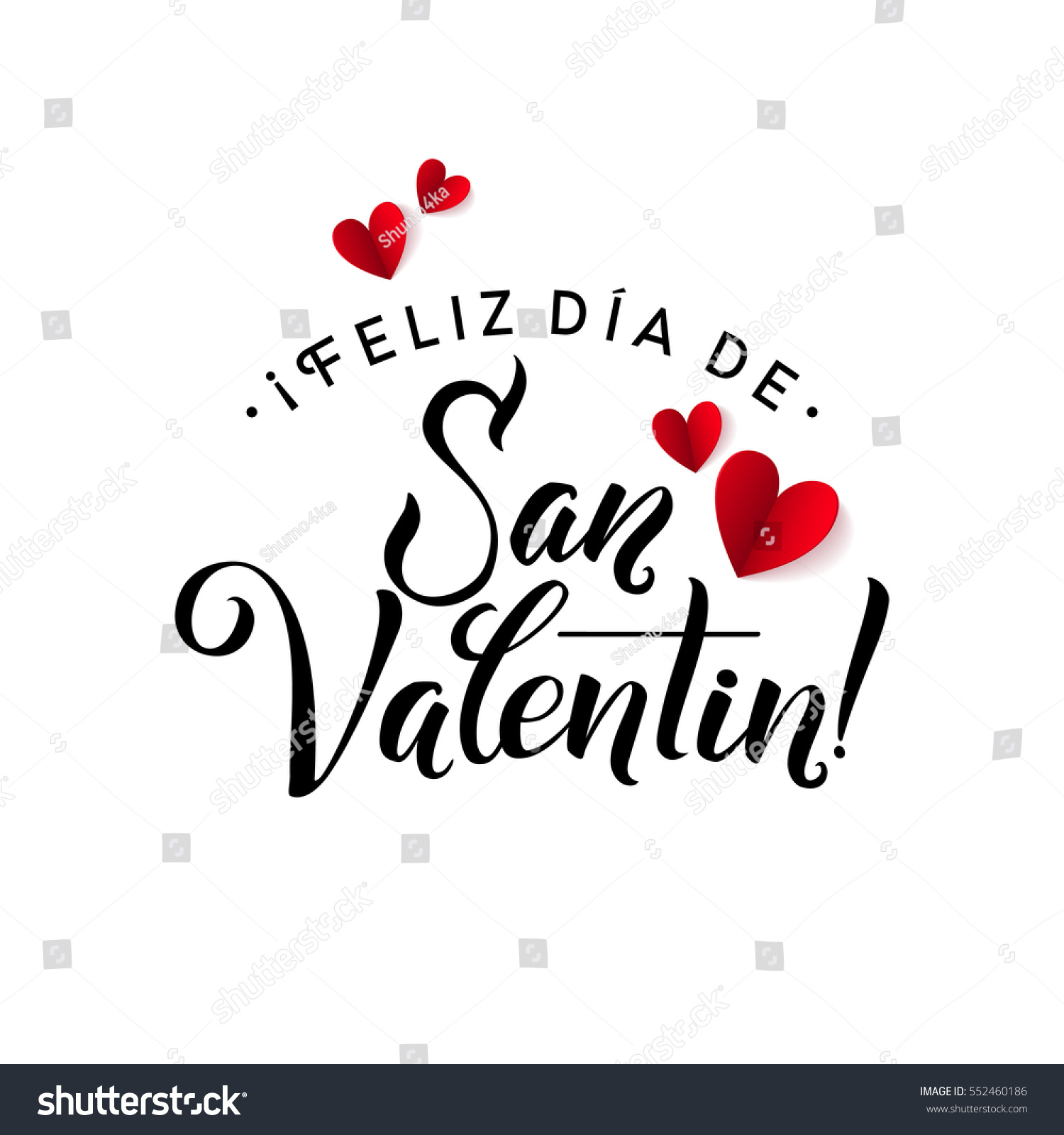 Happy Valentines Day Card Spanish Calligraphic Stock Vector Royalty
