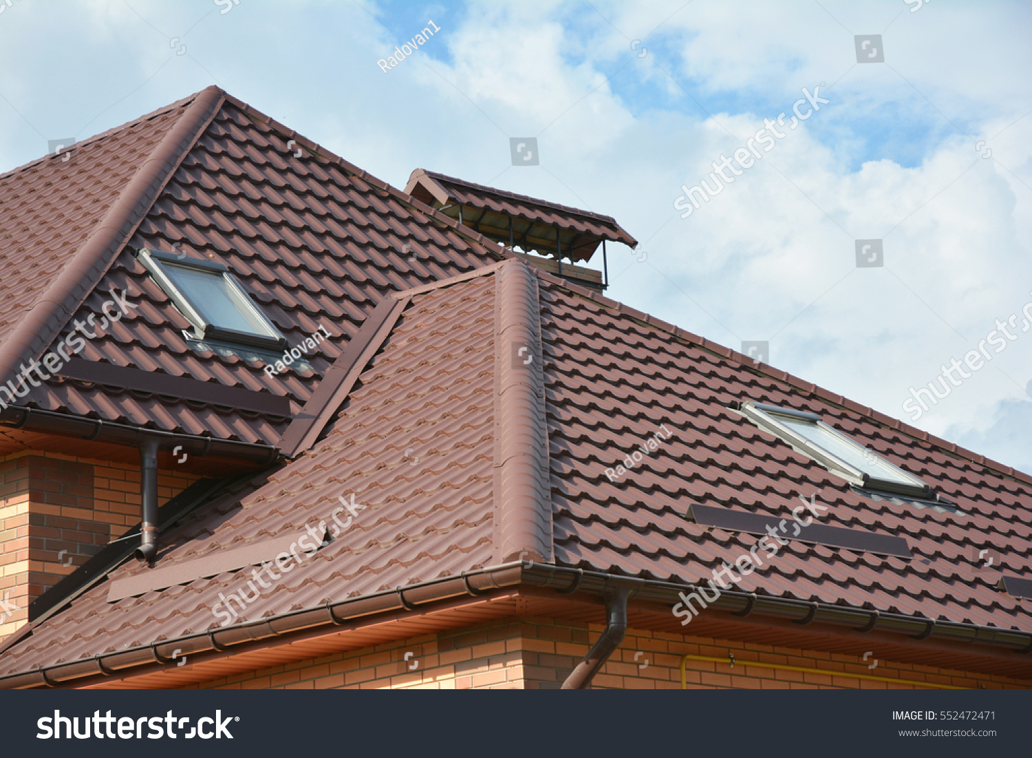 Modern House Roofing Construction With Attic Skylights, Rain Gutter System, Roof  Windows, Roof