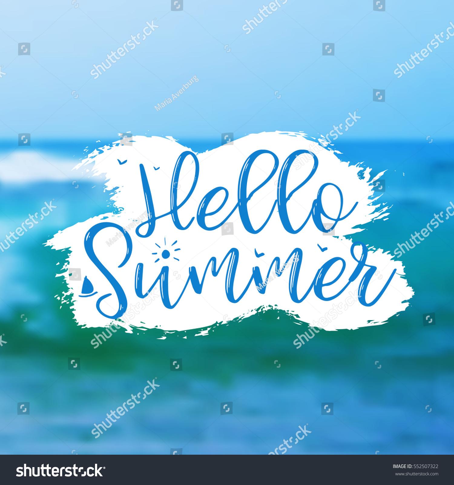 Sea Background Lettering Hello Summer Vector Stock Vector 552507322    Shutterstock