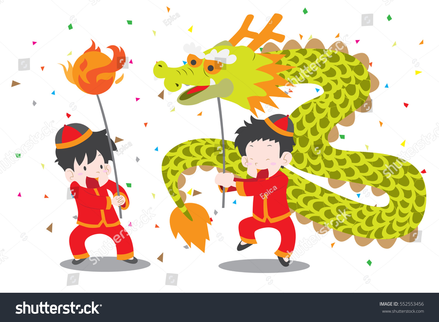 boys doing chinese dragon dance cute stock vector royalty free