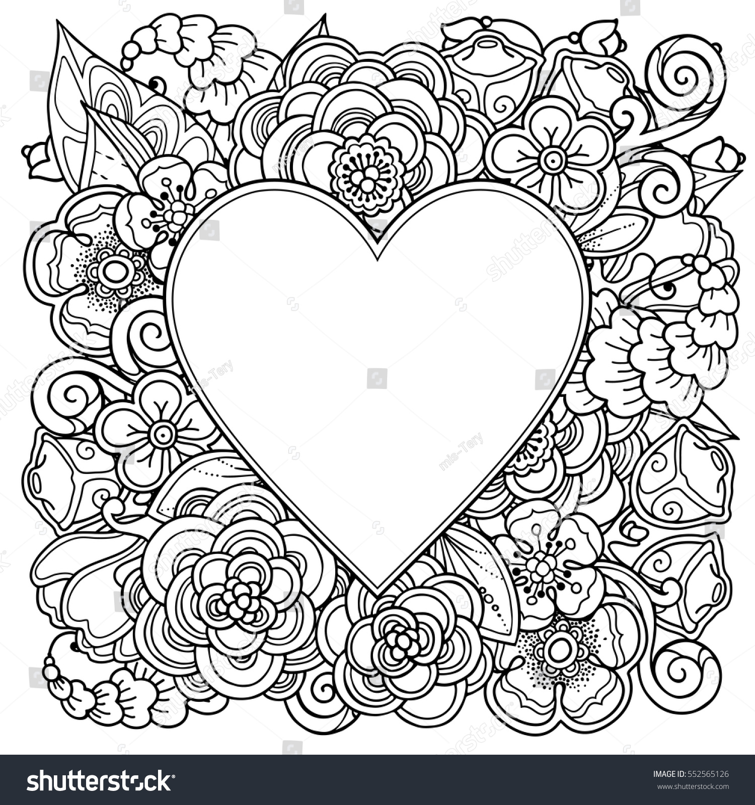 decorative love frame heart flowers ornate stock vector 552565126