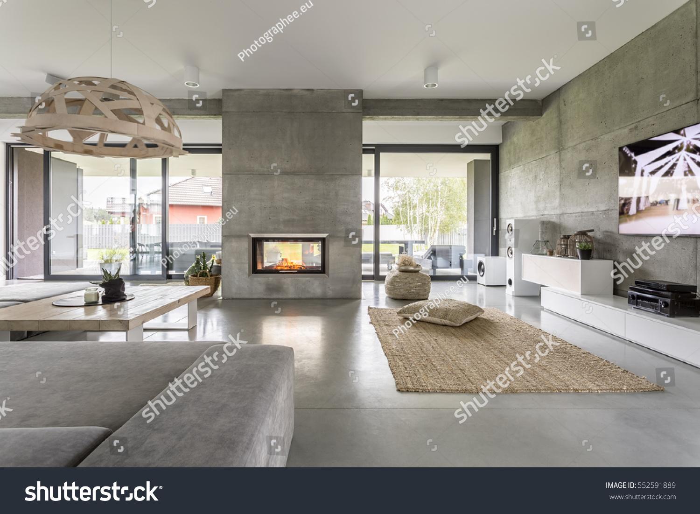 spacious villa interior cement wall effect stock photo 552591889
