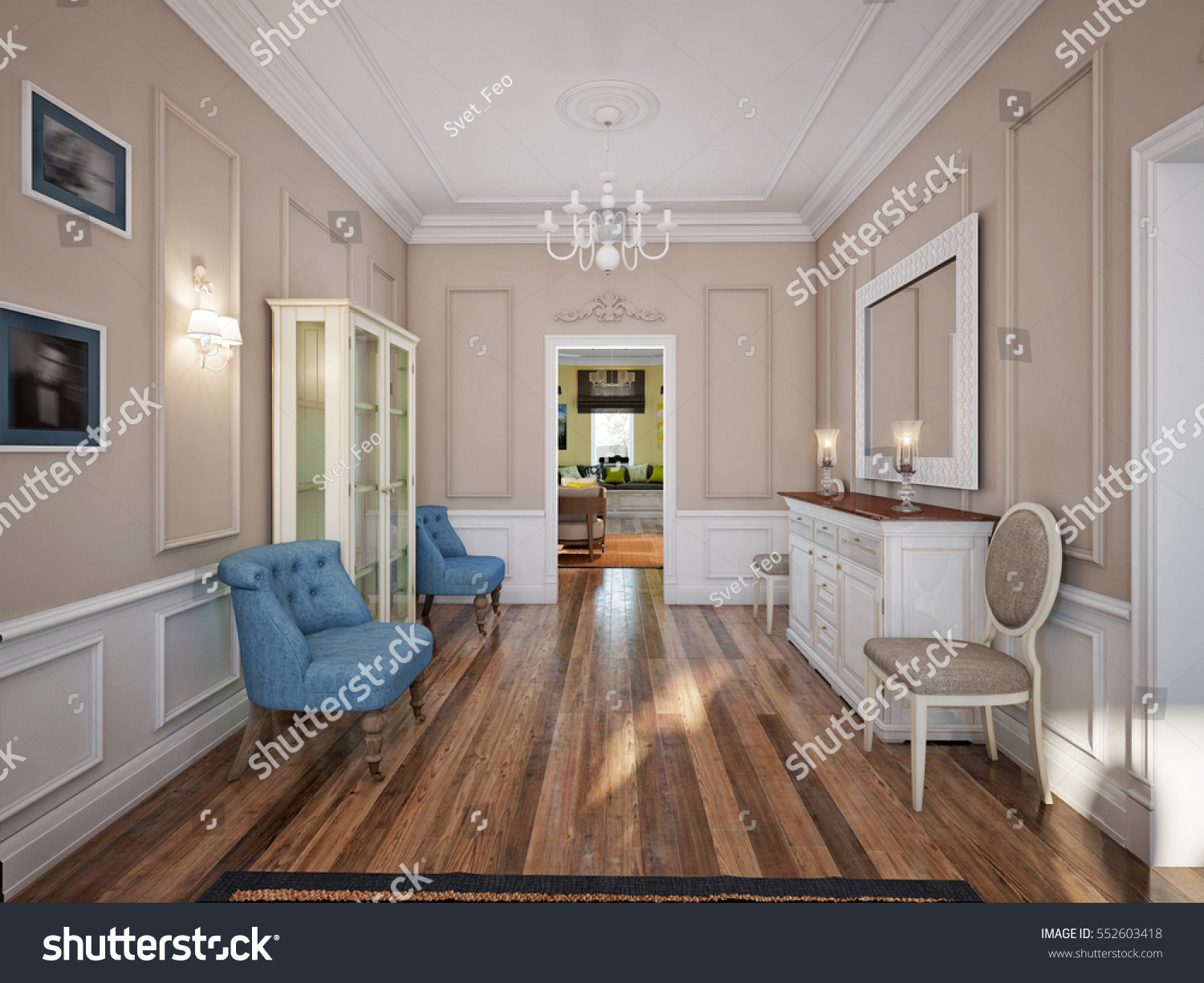Dining Room In Luxury Home With White Wall Panels And Beige Molding Walls.  3d Render