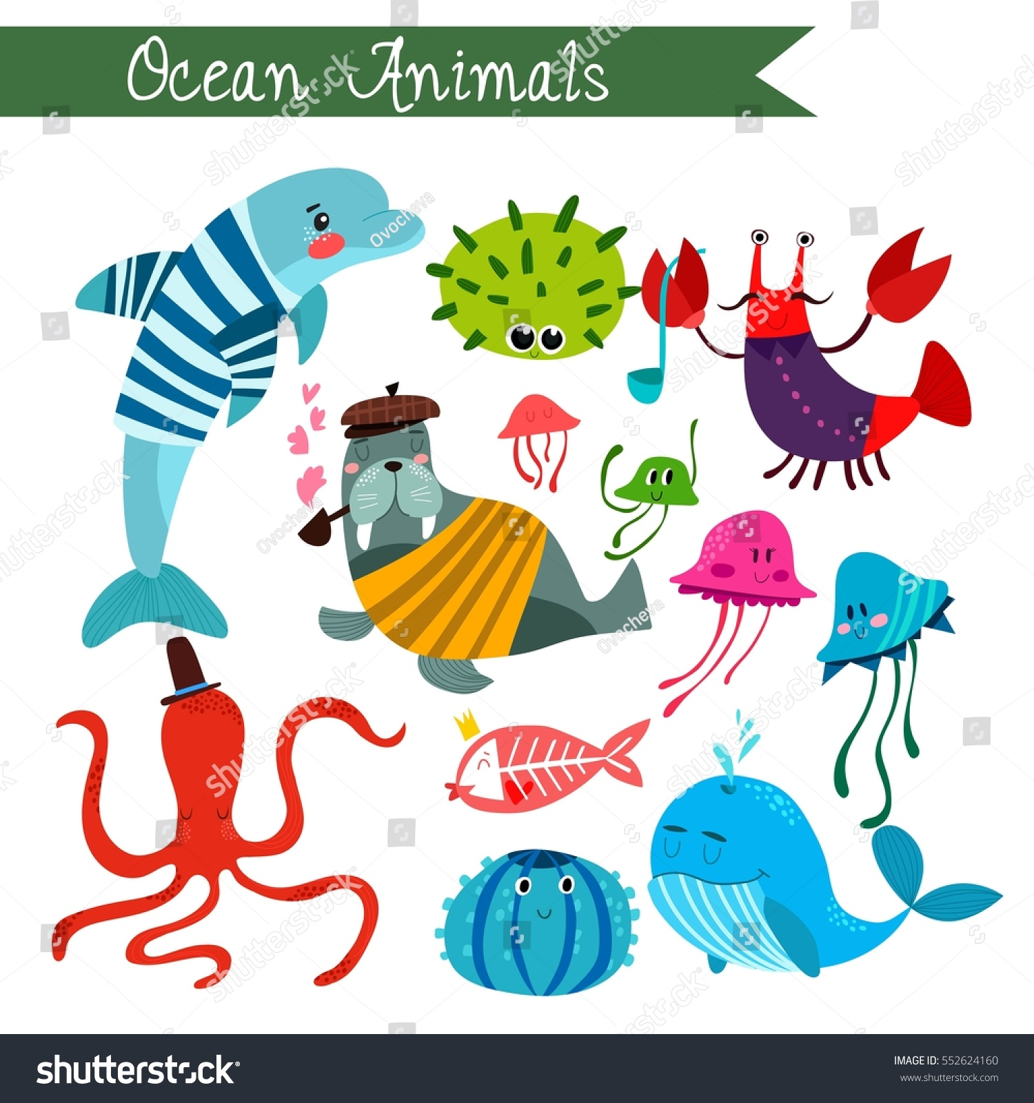 ocean animals vector illustrationvector set isolated stock vector