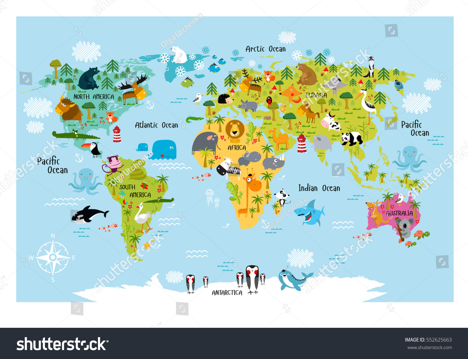 Vector Map World Cartoon Animals Kids Stock Vector - Map of north america and europe