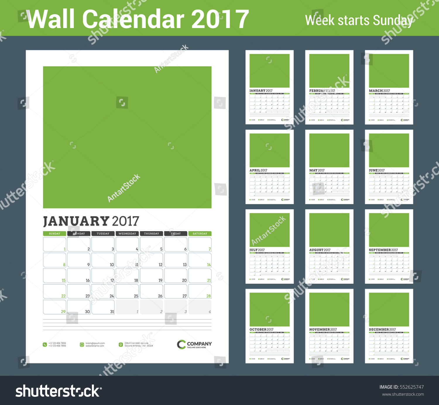 Wall Calendar Design Templates : Wall calendar planner template year stock vector