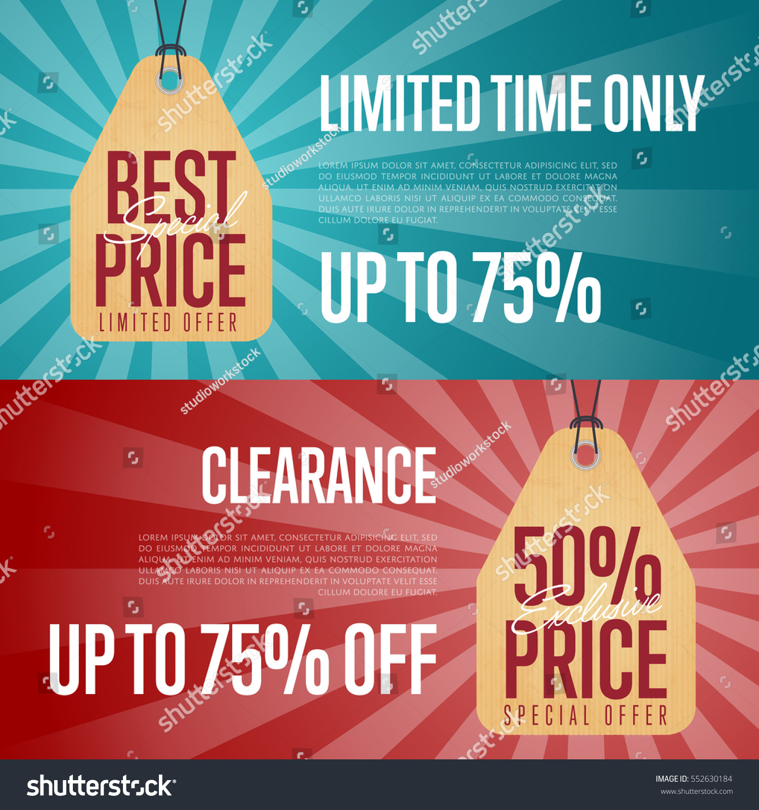 Special Offer Discount Banner Set Vector Stock Vector Royalty Free 552630184