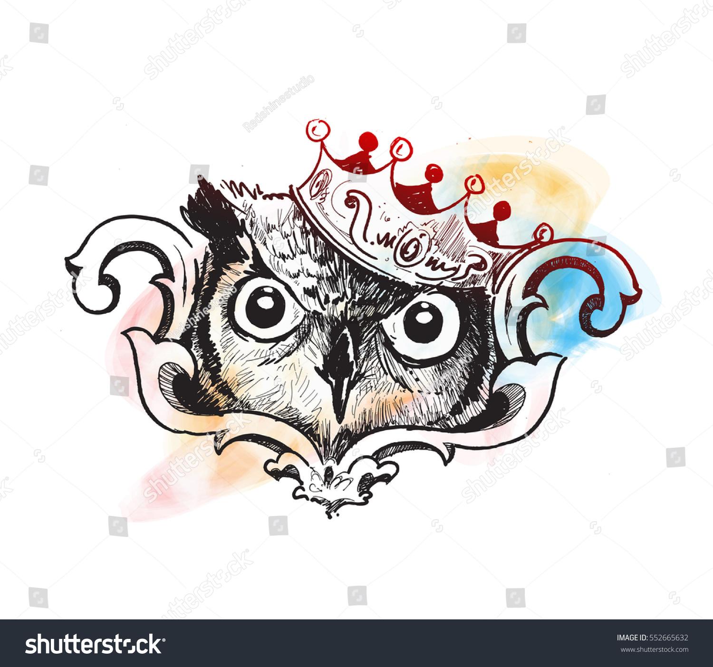 Owl King Logo Design Template Hand Stock Vector (Royalty Free ...