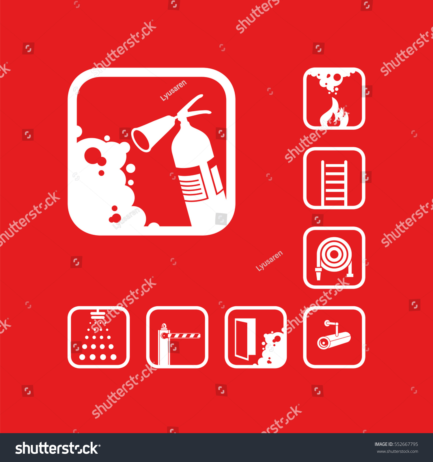 fire extinguisher icon white sign on stock vector