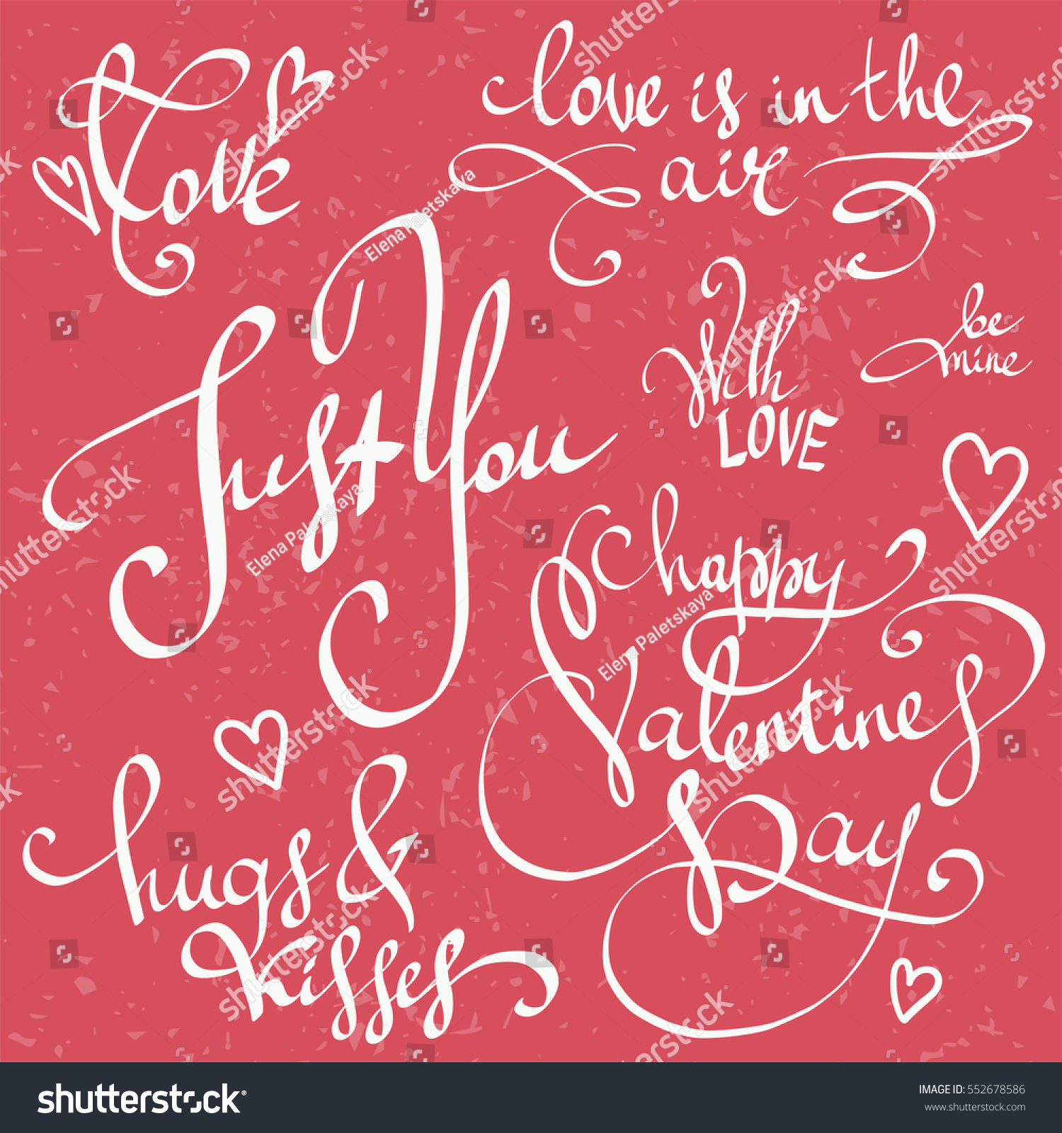 Happy Valentines Day Lettering Vector Set Stock Vector (Royalty Free ...