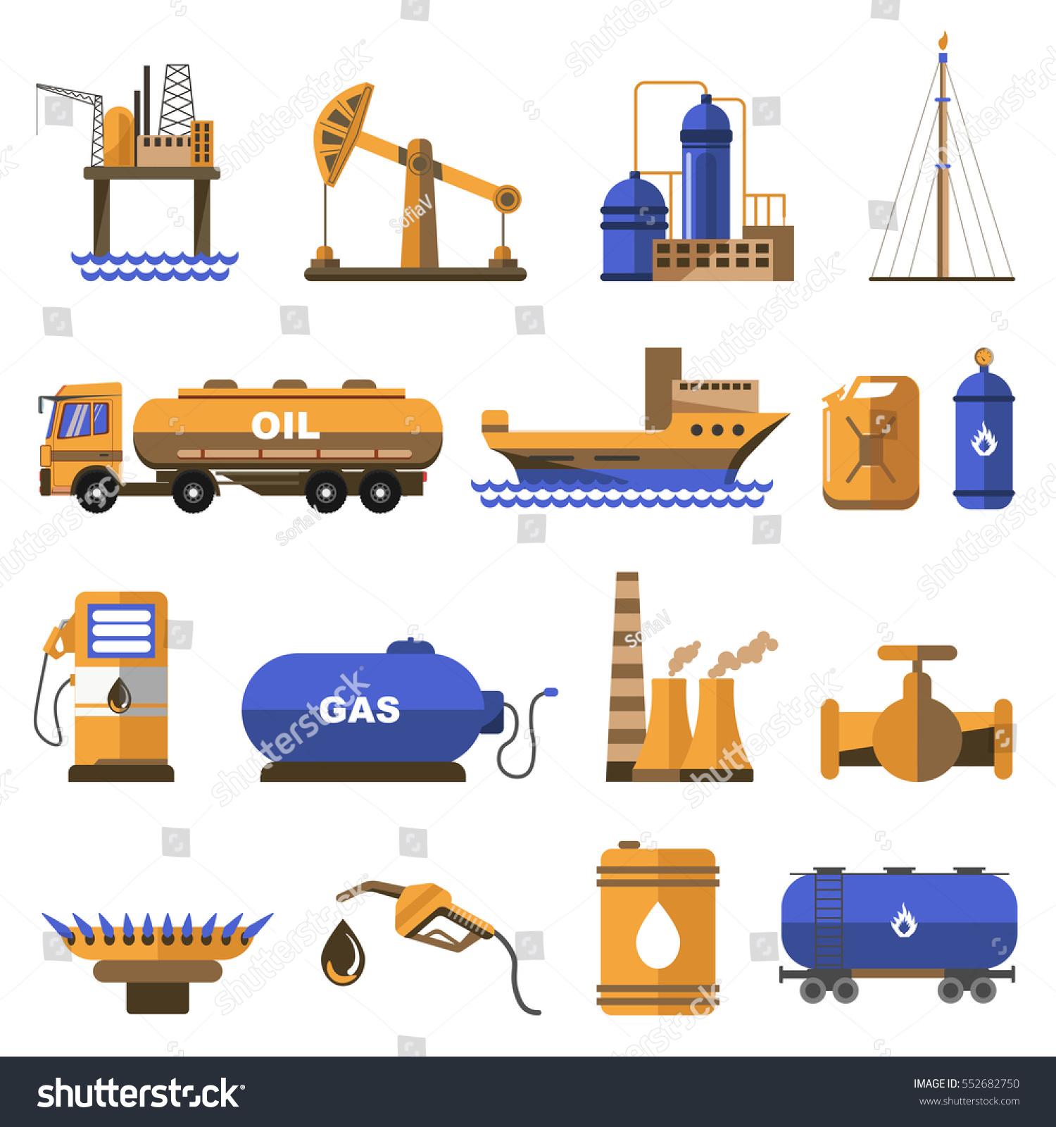 Oil gas icons set symbols refinery stock vector 552682750 oil and gas icons set symbols of refinery industry offshore platform for petroleum extraction buycottarizona