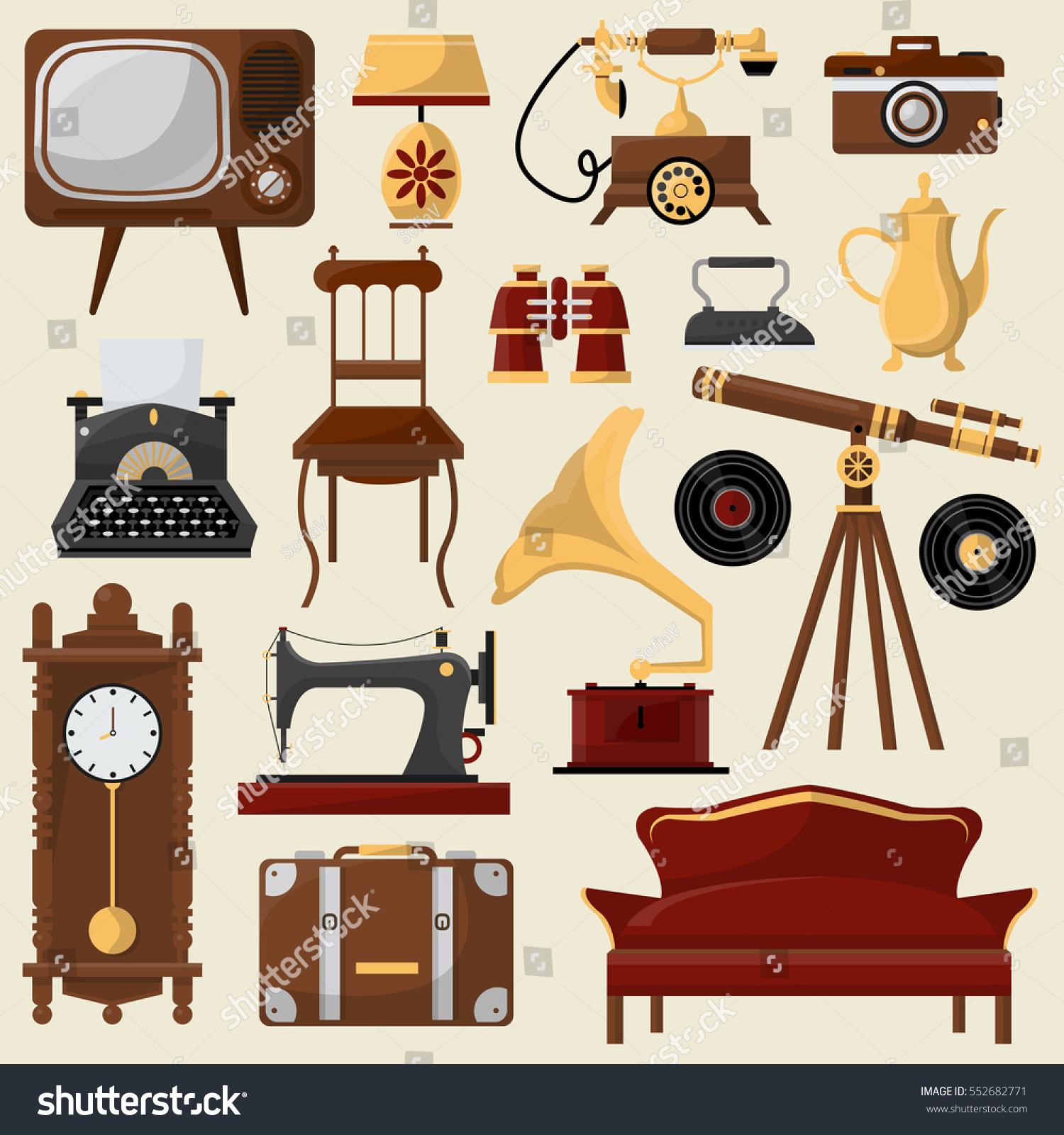 Set of vintage home furniture and accessories  Retro interior  chair  sofa   lamp. Set Vintage Home Furniture Accessories Retro Stock Vector