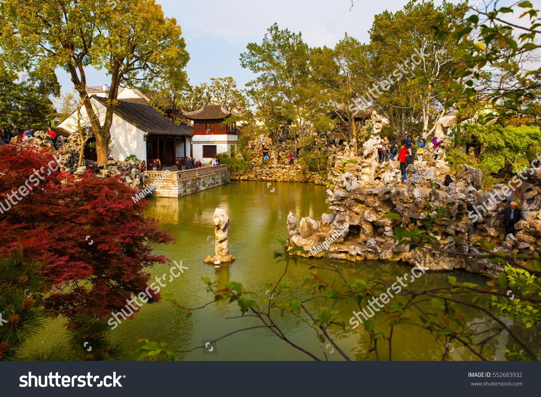 SUZHON, JIANGSU/CHINA-APR 13: Lion Forest Garden scene-One of ...