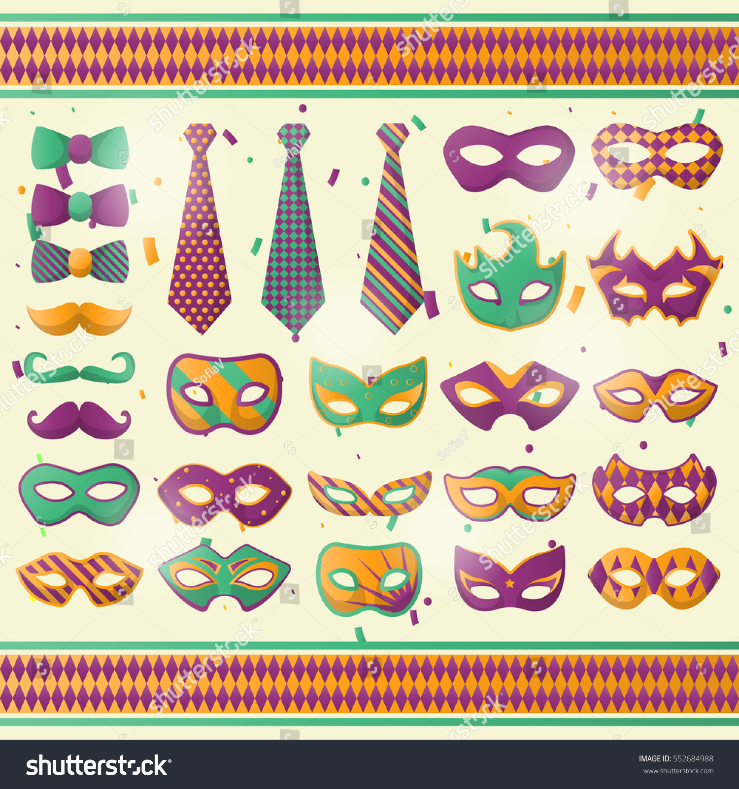 Mardi gras costume party festival carnival stock vector 552684988 mardi gras costume party or festival carnival or masquerade mask and tie set amipublicfo Images