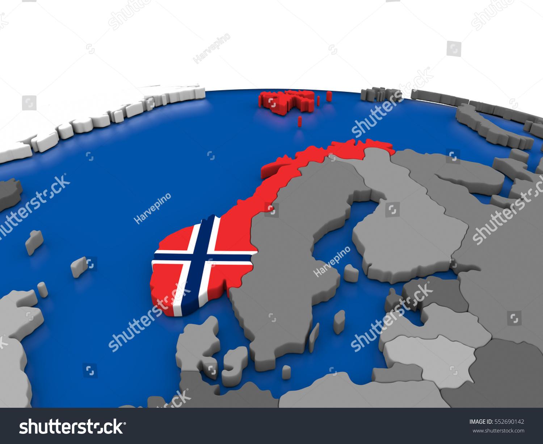 Map Norway Embedded Flag On Globe Stock Illustration - Norway map on globe