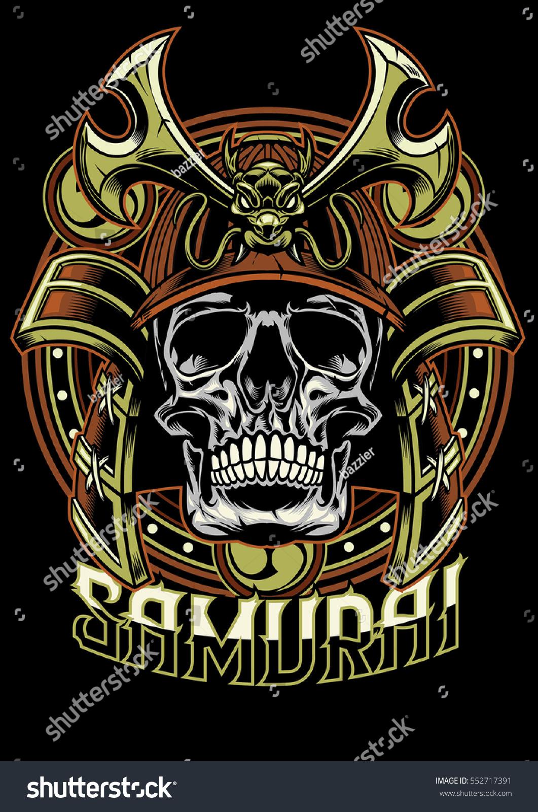 Skull of samurai warrior