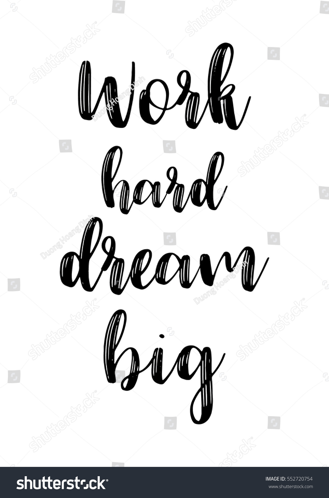 Motivational quote vector lettering poster black calligraphy isolated on white background work hard