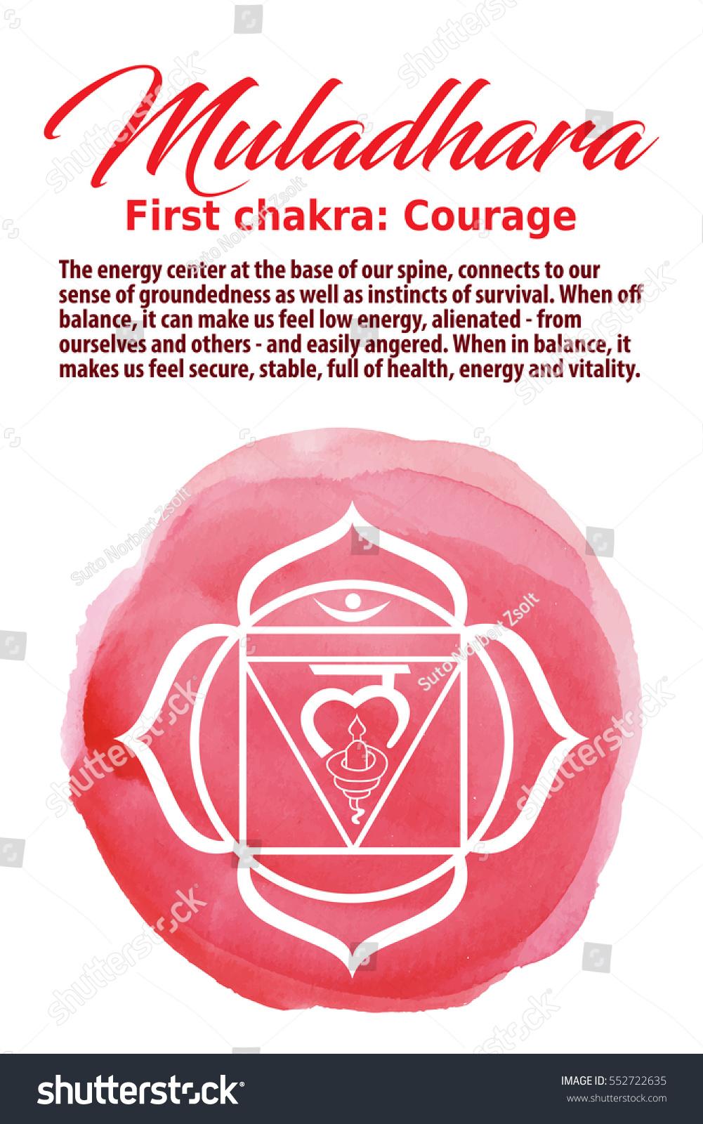 Muladhara Chakra Symbol On A Red Watercolor Dot Vector Illustration