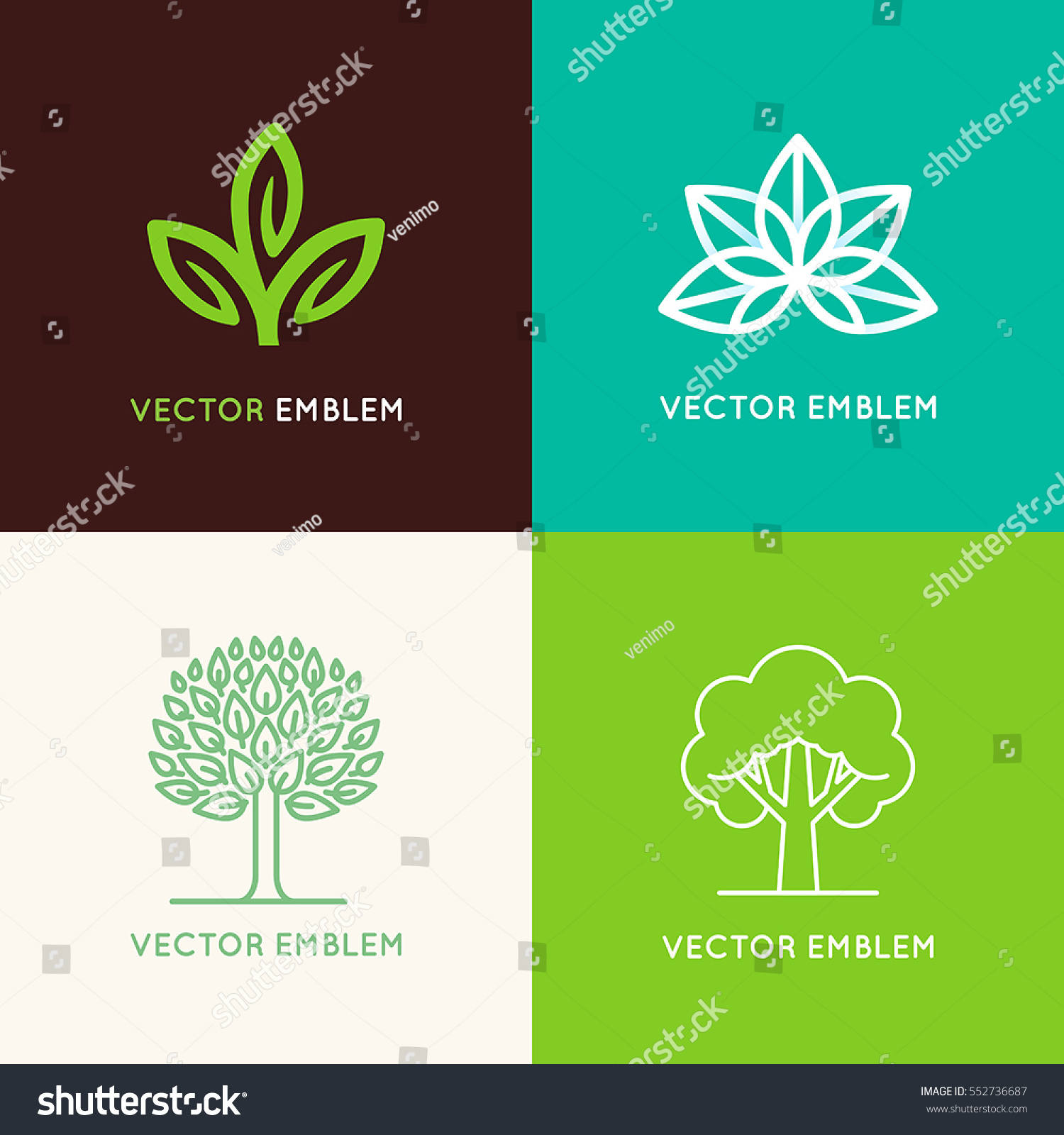 Vector Set Logo Design Templates Emblems Stock Vector