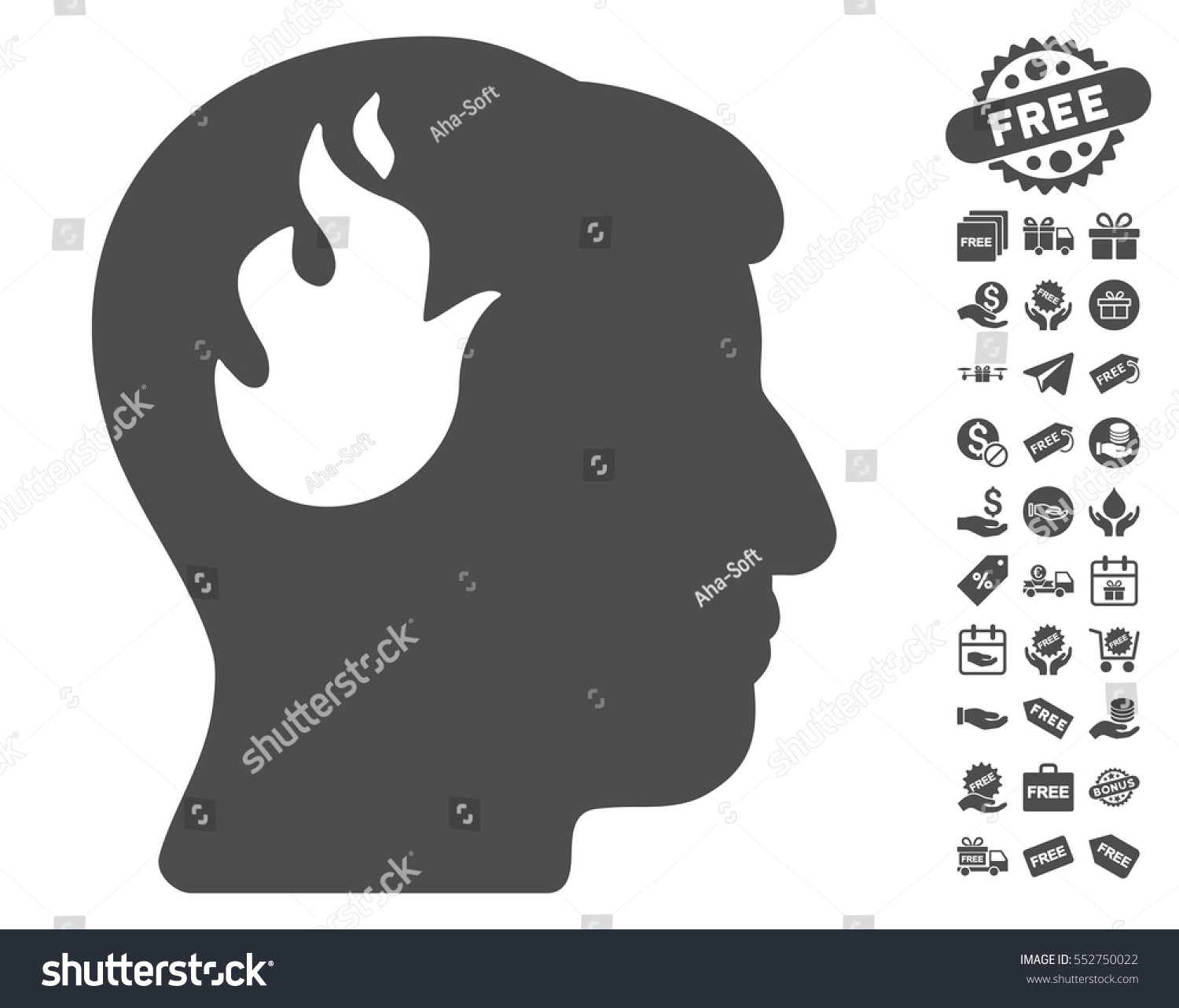Brain Fire Icon Free Bonus Clip Stock Vector Royalty Free